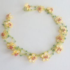 Yellow Daisy Necklace Floral Necklace Yellow by Crochet Flower Patterns, Tatting Patterns, Crochet Art, Crochet Crafts, Crochet Flowers, Daisy Necklace, Floral Necklace, Crochet Bracelet, Crochet Earrings