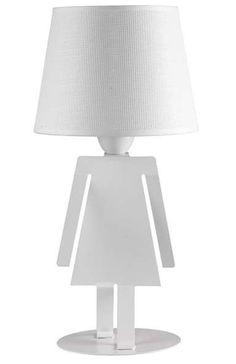 Biała, abażurowa lampka stołowa DZIEWCZYNKA to ciekawe rozwiązanie dla Twojego salonu. #mlamp #oświetlenie #lampa #lampka #design #nowoczesna #wystrój #wnętrz
