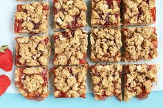 Bake a batch of these simple, yet naturally sweet Strawberry Oatmeal Cookie Bars, to share at your next potluck or bbq. They're easy to make in advance, are packed with strawberry flavor. Oatmeal Cookie Bars, Oat Bars, Granola Bars, Strawberry Oatmeal Bars, Raspberry Bars, Carrot Cake Bars, Egg Recipes, Baby Recipes