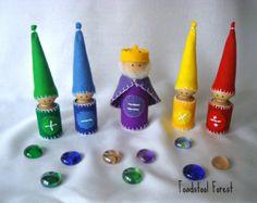 Waldorf Math Gnomes ~ Math Manipulative ~ Math Processes ~ Math Symbols ~ Educational Toy ~ Wood Peg Gnomes