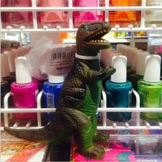 Steve, our #dinosaur mascot, showing off his #fabulous side. Featuring @Natasha Hegarty Paint ! Staff pick by Janissa!