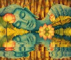 bienvenido otoo Since everything is a reflection of our minds. Everything can be changed by our minds - Buddha : Yugliya Priya Budha Painting, Kerala Mural Painting, Pintura Zen, Buddha Artwork, Buddha Kunst, Yoga Studio Design, Gautama Buddha, Buddhist Art, Indian Art