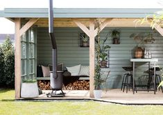 GARDEN HOUSE lounge area with outdoor fireplace for the colder summer evenings Rustic Outdoor Spaces, Outdoor Living, Outdoor Decor, Garden On A Hill, Home And Garden, Little Gardens, Pergola Attached To House, Beach Gardens, Pergola Designs