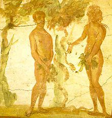 Adam and Eve, catacombs of Saints Marcellinus and Peter - The scene is on the vault of a cubicle in the catacombs. (Version with borders).  Date: First half the fourth century  Location: Rome, Itally.