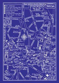1949 Vintage Map of Downtown Madrid, Spain 20x30 Blueprint Print Poster. $29.95, via Etsy.