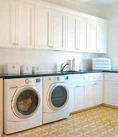 Ellen Grasso & Sons - laundry/mud rooms - white cabinets, white cabinetry, yellow and white laundry room, yellow and white floor tile, yello. Laundry Room Cabinets, Basement Laundry, Laundry Room Storage, Laundry Room Design, Storage Cabinets, Laundry Cupboard, Laundry Organizer, Laundry Area, Storage Room