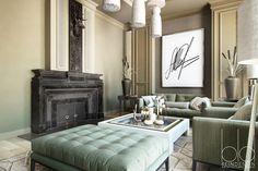 Elegancki salon, luksusowy salon, miętowe akcenty w salonie, meble do salonu. Zobacz więcej na: https://www.homify.pl/katalogi-inspiracji/18109/najmodniejsze-kolory-2015-w-twoim-salonie