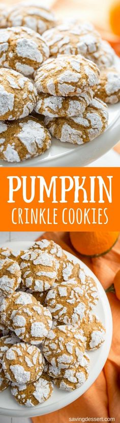 Pumpkin Crinkle Cookies ~ Soft and sweet, with plenty of pumpkin flavor and pumpkin pie spice.  These easy to make cookies are the perfect Fall  bite - savingdessert.com