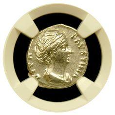 Roman Silver Denarius Faustina Sr. NGC Extremely Fine