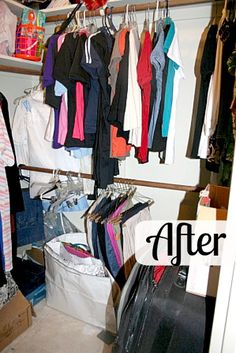 Decluttering closets- after pictures of a closet purge.