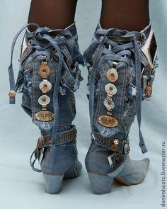 Обувь ручной работы. Ярмарка Мастеров - ручная работа Казаки джинсовые на каблуке 7см.. Handmade. Boho Boots, Denim Boots, Denim Bag, Jeans And Boots, Spats Shoes, Shoes Heels Boots, Heeled Boots, Steampunk Boots, Recycled Denim
