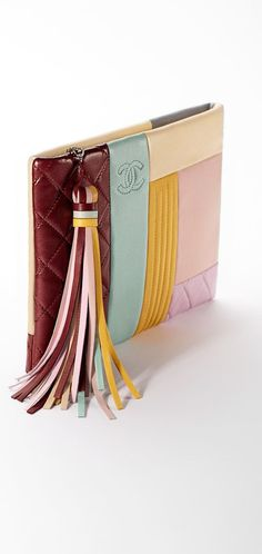 Pouch, lambskin & silver metal-multicolor & burgundy - CHANEL