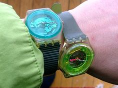 I had the one on the right!  I loved that Swatch!  With Swatch guard, though, of course.