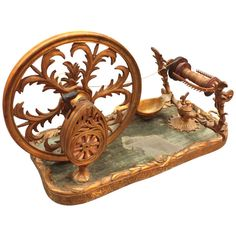 Gilt Bronze Tabletop Spinning Wheel | From a unique collection of antique and modern more antique and vintage finds at http://www.1stdibs.com/furniture/more-furniture-collectibles/more-antique-vintage-finds/