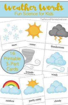 Download a set of free printable Weather Words for Kids.