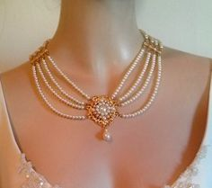 Items similar to Bridal Pearl Necklace Pearls Gold Bride Choker Bride Necklace Multi Strand Pearls Rhinestone Ivory Pearls Crystal Collar Necklace Weddings on Etsy Bride Necklace, Real Pearl Necklace, Pearl Necklace Designs, Pearl Necklace Wedding, Bridal Earrings, Pearl Jewelry, Bridal Jewelry, Beaded Jewelry, Gold Jewelry