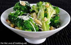 For the Love of Cooking » Broccoli with Garlic, Pine Nuts, and Asiago Cheese