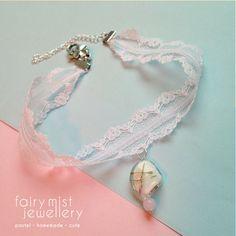 Sweet White Flower Lace Choker Rose Lampwork by fairymistjewellery