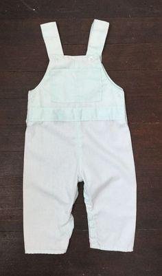 e325584bd8a Vtg Baby Boy Overalls Dressy Romper Mint Green Lightweight Newborn Doll 0-3M
