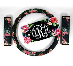 Floral Monogrammed Steering Wheel Cover Seat Belt by ChicMonogram
