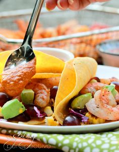 Shrimp Tacos with Grilled Corn, Grapes & Creamy Ranchero Sauce via @Sommer   A Spicy Perspective