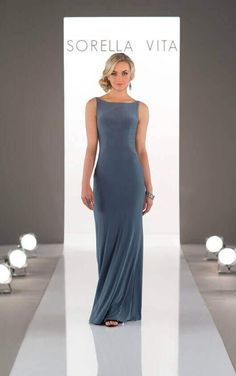 8880 High-Neck Sheath Bridesmaid Dress by Sorella Vita