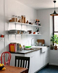 """10 Neat & Beautiful Kitchens"" / great examples & tips for small apartment kitchens / open shelves / organization"