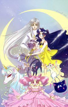 Sailor Moon ~ Human & Cat Luna, Artemis, & Diana with Chibiusa Sailor Moon Luna, Sailor Moon Crystal, Sailor Moom, Sailor Uranus, Sailor Princess, Sailor Scouts, Loli Kawaii, Pokemon Comics, Magical Girl