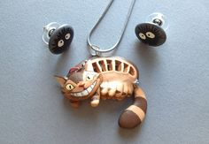 Totoro Catbus and Dust Mote Necklace/Earring Set by Gatobob, $35.95