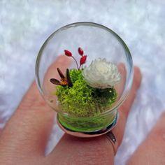 Bague végétale globe verre