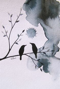 birds - WOULD LOOK GOOD AS WELL IN  BLACK INK DRAWING, JAPANESE STYLE