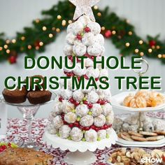 A donut hole Christmas tree dresses up the breakfast or brunch table. Make it in minutes. Christmas Donuts, Christmas Tea Party, Christmas Tree Dress, Christmas Deserts, Christmas Breakfast, Christmas Appetizers, Christmas Cooking, Christmas Goodies, Holiday Desserts
