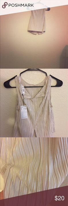 Golden nude pleated shirt Brand new, never worn once! Everything is good. Mango Tops Blouses
