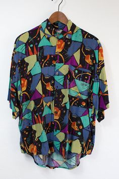Vintage 80's Multi Color Short Sleeve Dress Shirt - (Medium/Large) on Etsy, $30.00