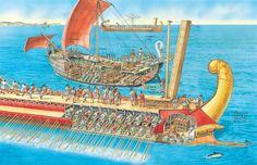 "Quinquerreme romano con ""corvus"" (P. Dennis) http://www.elgrancapitan.org/foro/viewtopic.php?f=87&t=24086&p=882222#p881545"