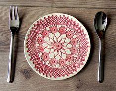 Rustic Ceramic Plate Red Lace Dessert Plate Serving by Ceraminic, $25.00