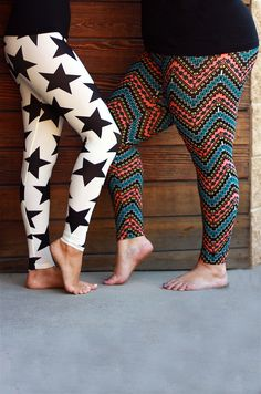 Love the variety of patterns:) #inspiredbyyou Patterned leggings in small through plus size #beinspiredboutique