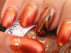 The Girl Who Was In Fire (Katniss Everdeen) nail art featuring Lacquistry Cosy Fire