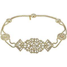 Jennifer Behr Octavia Antique Gold Crystal Headpiece ($749) ❤ liked on Polyvore