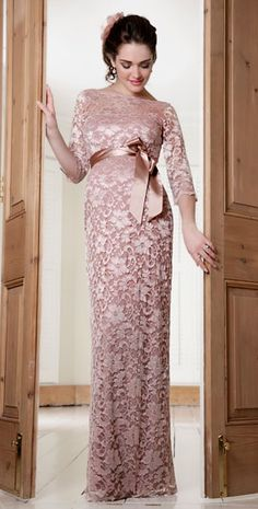 Amelia Lace Maternity Dress Long (Vintage Rose) by Tiffany Rose $380