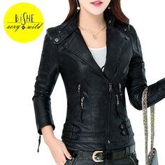 BiSHE Pu Leather Jacket Women Slim Winter Jackets Coat Female Autumn Casaco Warm Feminino Femme Basic Jacket Faux Leather Coat