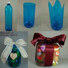 #Embalagens feitas de #garrafas #PET. Adorei! Saiba como fazer mais coisas em http://www.comofazer.org