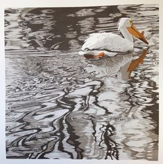Brush and Baren: Linocut in Progress: A pelican looking for a title (and maybe for love)