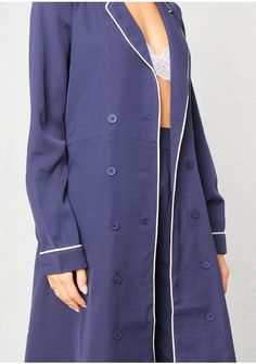 Abigail Navy Contrast Piping Belted Trench Coat Missy Empire