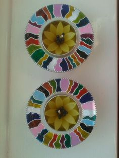 Hand painted set of glass tealight holders with decorative candle by Atelier Fanfan