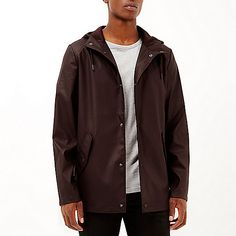 Dark red rubberised hooded jacket