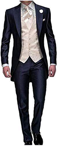 Enjoy exclusive for Men's Navy Blue Groom Tuxedos 3 Pieces Tailcoat Wedding Suits Long Men Suit online - homme Mens Wedding Suits Navy, Tuxedo Suit For Wedding, Mens Tuxedo Suits, Groom Tuxedo, Tuxedo For Men, Wedding Men, Suit Men, Wedding Tuxedos, Wedding Ideas