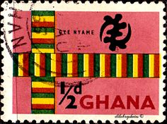 "Ghana.  KENTE CLOTH & ""GOD'S OMNIPOTENCE SYMBOL"".  Scott  48 A13a, Issued 1959 Oct 5,  Wmk325. 1\2d. /ldb."