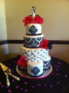 cake toppers for damask wedding   damask wedding cake damask wedding cake satellite cake bottom tier ...