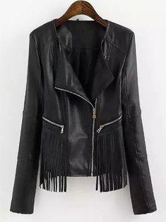Turn-Down Collar PU Leather Fringe Splicing Jacket Short Leather Jacket, Faux Leather Jackets, Pu Leather, Leather Fringe, Leather Coats, Black Leather, Real Leather, Coats For Women, Jackets For Women